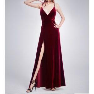 Burgundy Velvet Long Dress with Slit